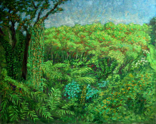 """Popolu Valley"" Hawaii oil painting and prints by Pointillistic/Impressionist painter Paul Berenson"
