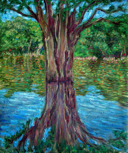 """Amazon Reflections: The Tree"" Brazil oil painting and prints by Pointillistic/Impressionist painter Paul Berenson"