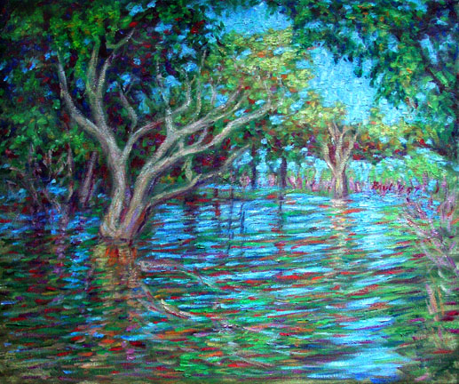 """Amazon Reflections 1"" Brazil oil painting and prints by Pointillistic/Impressionist painter Paul Berenson"