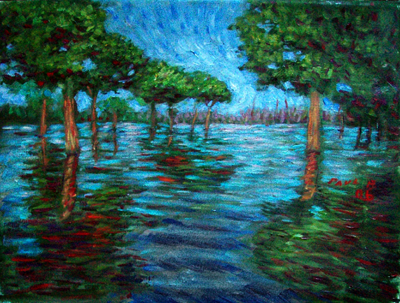 """ Trees in the Amazon"" Brazil oil painting and prints by Pointillistic/Impressionist painter Paul Berenson"