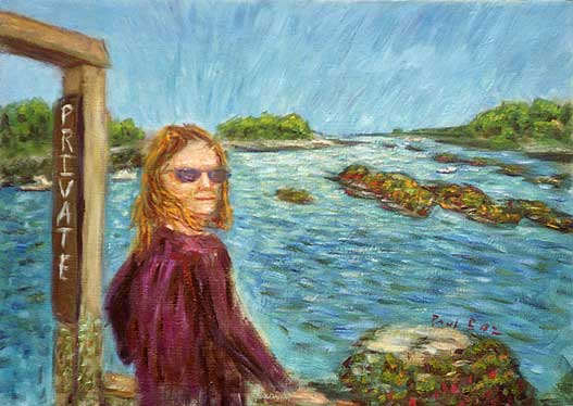 """Ann at Five Islands"" Maine Coast oil painting and prints by Pointillistic/Impressionist painter Paul Berenson"