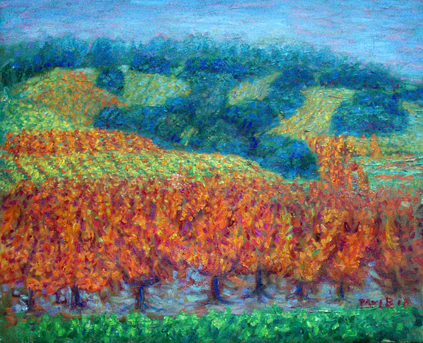 "Napa Valley ""Autumn Vinyard"" Napa Valley oil painting and prints by Pointillistic/Impressionist painter Paul Berenson"