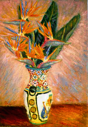 """Birds of Paradise in a Chinese Vase"" Flower oil painting and prints by Pointillistic/Impressionist painter Paul Berenson"
