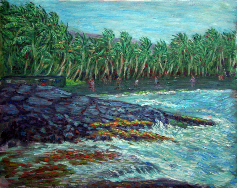 """Black Sand Beach"" Hawaii oil painting and prints by Pointillistic/Impressionist painter Paul Berenson"