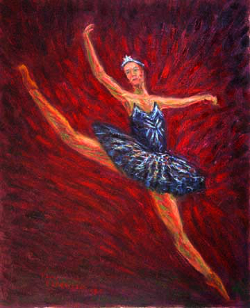 """The Black Swan"" Ballet oil painting and prints by Pointillistic/Impressionist painter Paul Berenson"