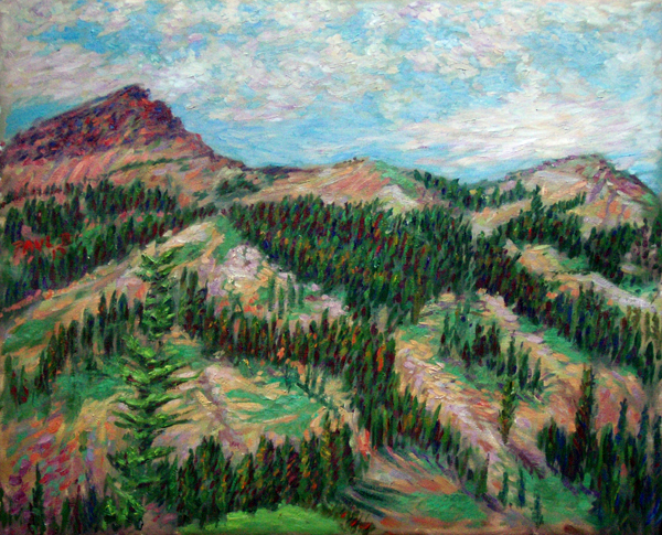 """Brokeoff Mountain"" California Mountains oil painting and prints by Pointillistic/Impressionist painter Paul Berenson"