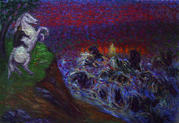 """The Ford at Bruinen"" Lord of the Rings oil painting and prints by Pointillistic/Impressionist painter Paul Berenson"