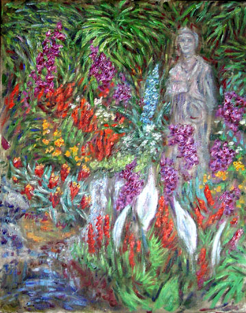 """Buddah Garden at the Mirage"" Las Vegas oil painting and prints by Pointillistic/Impressionist painter Paul Berenson"