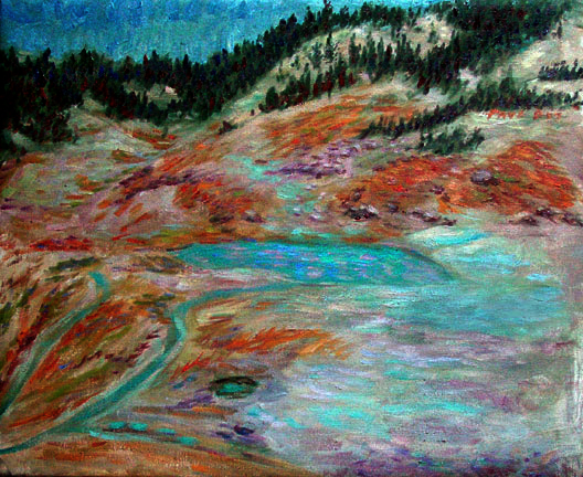 """Bumpass Hell"" California Volcanos oil painting and prints by Pointillistic/Impressionist painter Paul Berenson"