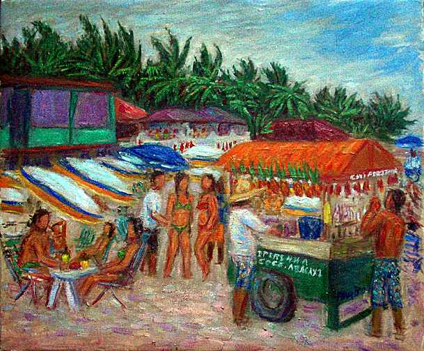 """Caiperinha Cart"" Brazil oil painting and prints by Pointillistic/Impressionist painter Paul Berenson"