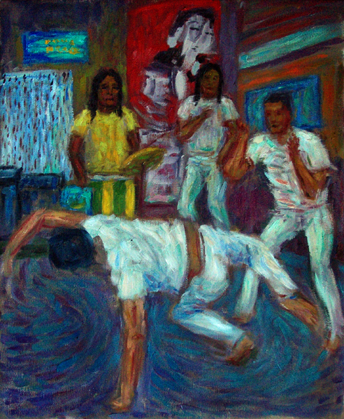 """Capoeira '08&quot Capoeira oil painting and prints by Pointillistic/Impressionist painter Paul Berenson"