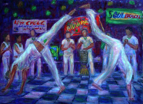"""Capoeira 2"" Capoeira oil painting and prints by Pointillistic/Impressionist painter Paul Berenson"
