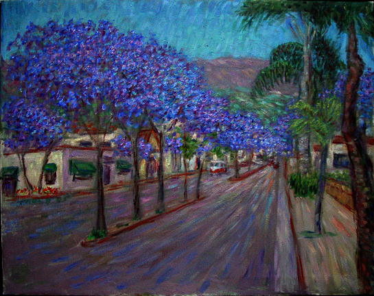 """Carrillo Street With Jacarandas"""