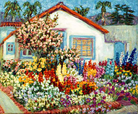 """Carol's House and Garden"" Flower Garden oil painting and prints by Pointillistic/Impressionist painter Paul Berenson"