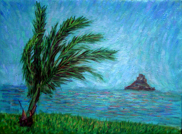 """Chinaman's Hat"" Hawaii oil painting and prints by Pointillistic/Impressionist painter Paul Berenson"