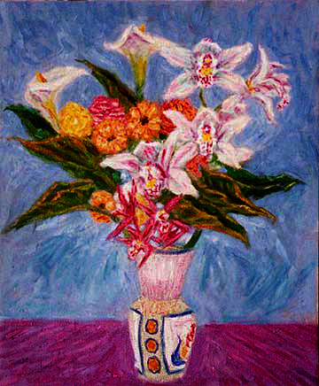 """Cymbidiums in a Chinese Vase"" Orchids oil painting and prints by Pointillistic/Impressionist painter Paul Berenson"