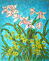 """Cymbidiums on Blue Background"""