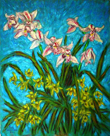 """Cymbidiums on a Blue Background"" Orchid oil painting and prints by Pointillistic/Impressionist painter Paul Berenson"
