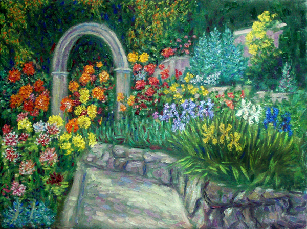 dahlia and iris garden flower garden oil painting and prints by pointillisticimpressionist - Flower Garden Paintings