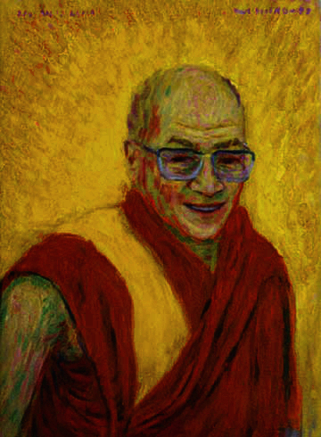 """Dalai Lama""; Portrait oil painting and prints by Pointillistic/Impressionist painter Paul Berenson"