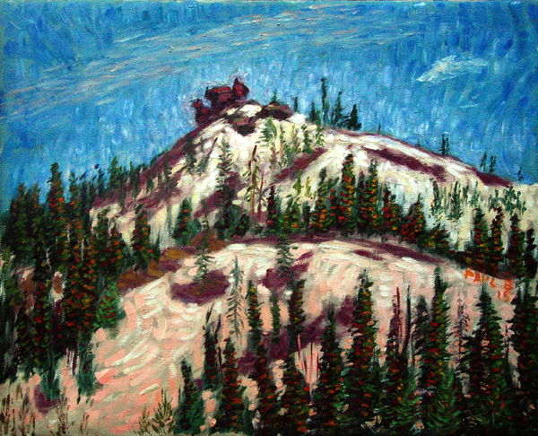 """Diamond Peak"" Lassen National Park oil painting and prints by Pointillistic/Impressionist painter Paul Berenson"