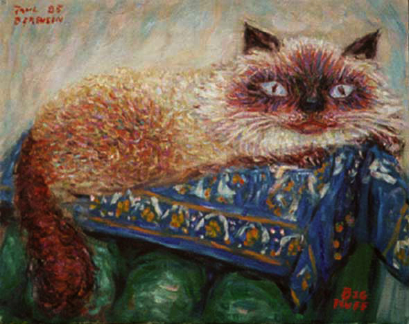 """Big Fluff"" Himalayan Cat oil painting and prints by Pointillistic/Impressionist painter Paul Berenson"