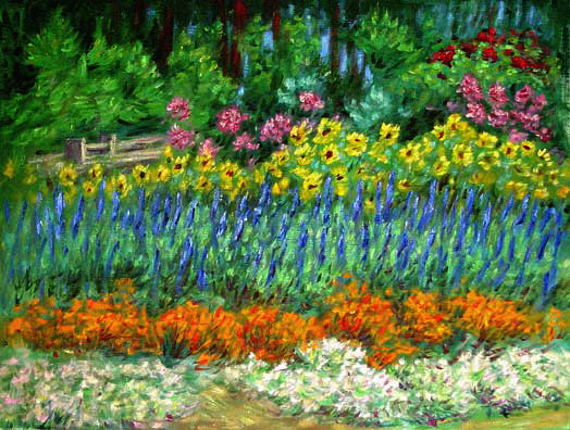 northern california flower garden flower garden oil painting and prints by pointillisticimpressionist - Flower Garden Paintings