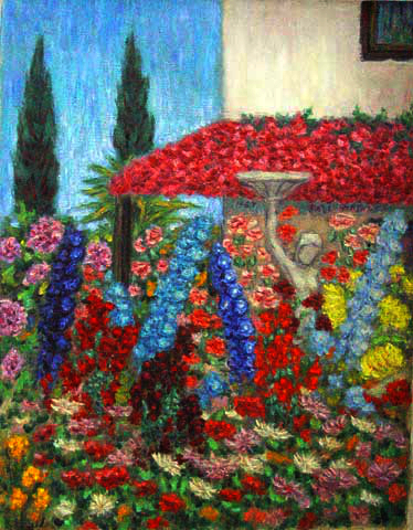 """Delphinium Garden and Fountain"" Flower Garden oil painting and prints by Pointillistic/Impressionist painter Paul Berenson"