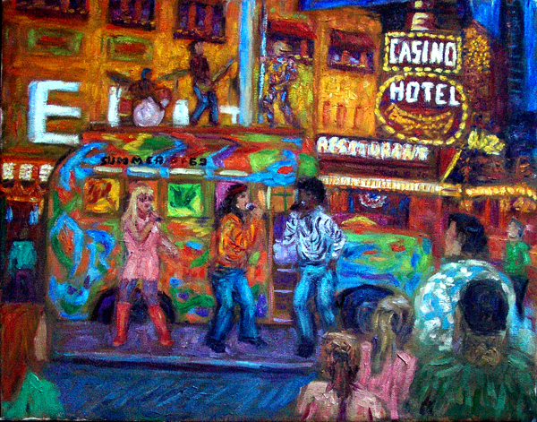 """Summer of '69"" Las Vegas oil painting and prints by Pointillistic/Impressionist painter Paul Berenson"
