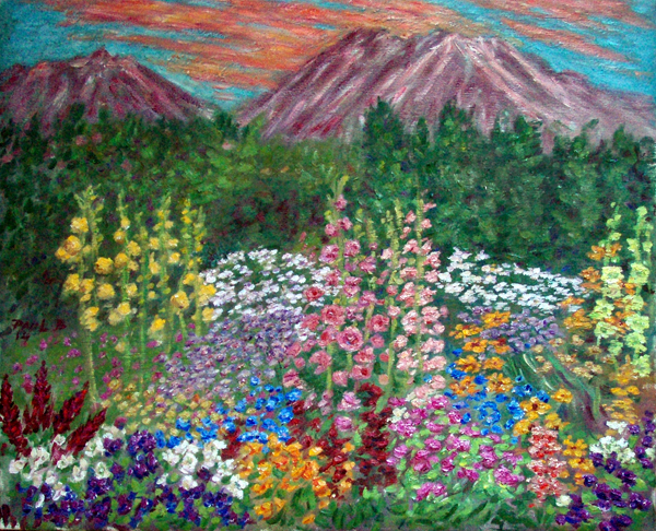 mt shasta sunset with hollyhock garden flower garden oil painting and prints by - Flower Garden Paintings