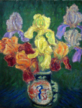 Iris Bouquet in a Chinese Vase