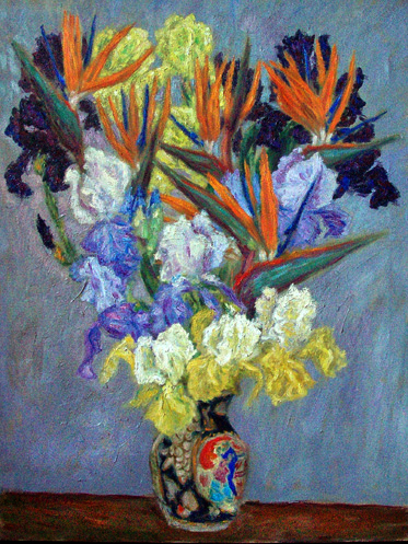 Irises And Birds Of Paradise Flower Oil Painting Prints By Pointillistic Impressionist Painter