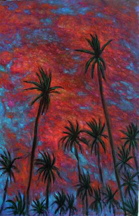 """Kauai'i Sunset"" Hawaii Sunset oil painting and prints by Pointillistic/Impressionist painter Paul Berenson"