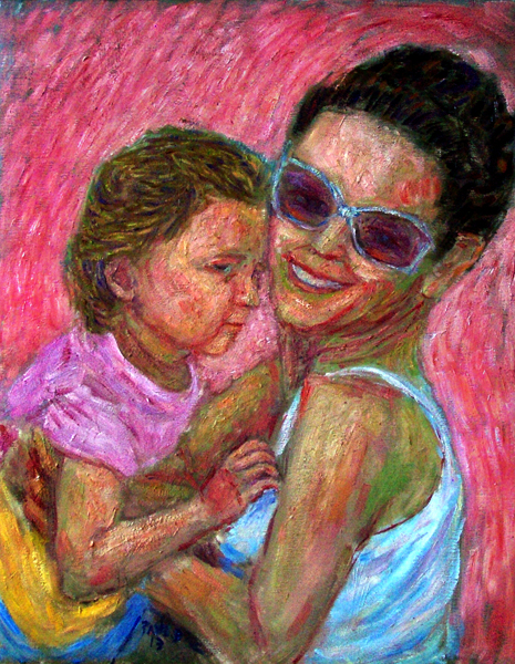 """Lana and Mommy Lu"" Friends Portrait oil painting and prints by Pointillistic/Impressionist painter Paul Berenson"