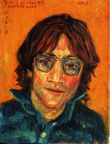 """John Lennon"" Beatles oil painting and prints by Pointillistic/Impressionist painter Paul Berenson"