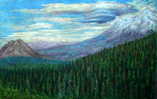"""The Mothership"" Mount Shasta oil painting and prints by Pointillistic/Impressionist painter Paul Berenson"