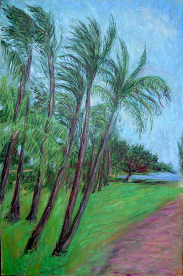 """Maui"" Hawaii oil painting and prints by Pointillistic/Impressionist painter Paul Berenson"