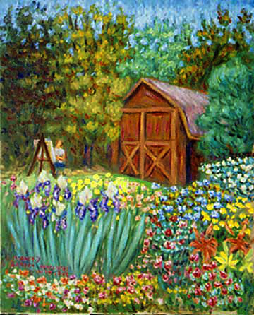 paul painting nancys garden flower garden oil painting and prints by pointillisticimpressionist - Flower Garden Paintings