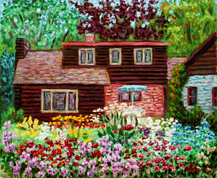"""Nancy's Garden"" Flower Garden oil painting and prints by Pointillistic/Impressionist painter Paul Berenson"