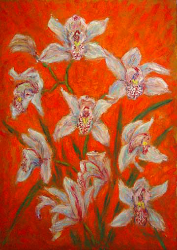 """Cymbidiums on an Orange Background"" Flower oil painting and prints by Pointillistic/Impressionist painter Paul Berenson"
