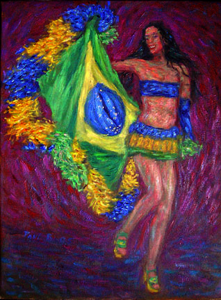 """Paola"" Samba oil painting and prints by Pointillistic/Impressionist painter Paul Berenson"