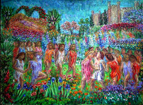 """Parsifal and the Flower Maidens"" Wagner Opera oil painting and prints by Pointillistic/Impressionist painter Paul Berenson"