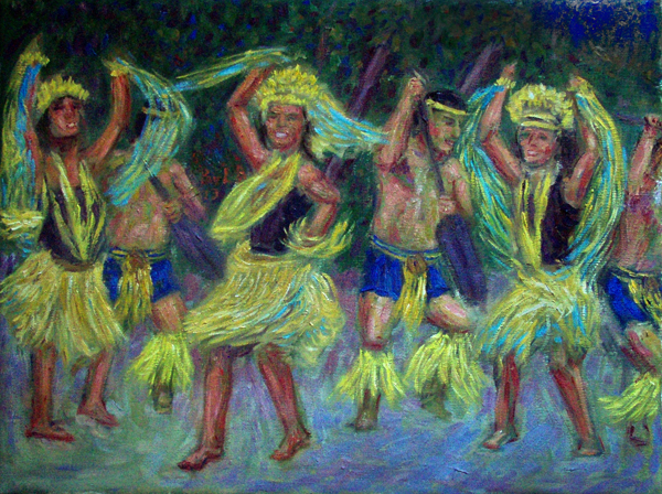 """Polynesian Dancers"" Hawaii Dance oil painting and prints by Pointillistic/Impressionist painter Paul Berenson"