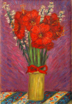 """Red Flowers in a Yellow Vase"""