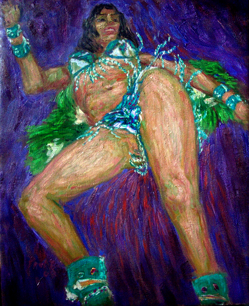 """Samba Passion"" Samba oil painting and prints by Pointillistic/Impressionist painter Paul Berenson"