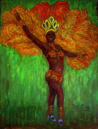 """Samba Queen"" Samba oil painting and prints by Pointillistic/Impressionist painter Paul Berenson"