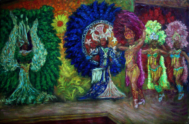 """Samba in Rio"" Brazil Dance oil painting and prints by Pointillistic/Impressionist painter Paul Berenson"