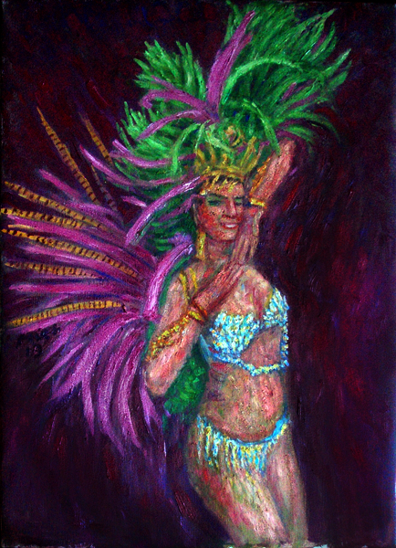 """Sambista Beauty Jennifer"" Samba oil painting and prints by Pointillistic/Impressionist painter Paul Berenson"