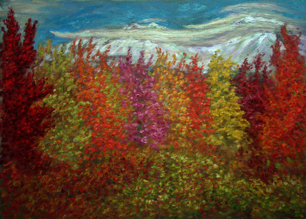 """Mount Shasta Autumn"" Mount Shasta oil painting and prints by Pointillistic/Impressionist painter Paul Berenson"