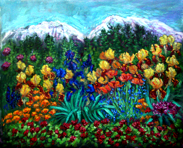 """Mount Shasta Iris Garden"" Mount Shasta oil painting and prints by Pointillistic/Impressionist painter Paul Berenson"